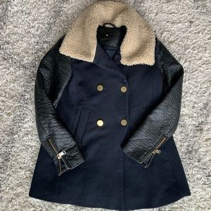 H&M Faux Shearling Collar Coat/Faux Leather Coat